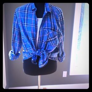 2 shirts. Vintage cropped tee & plaid button down